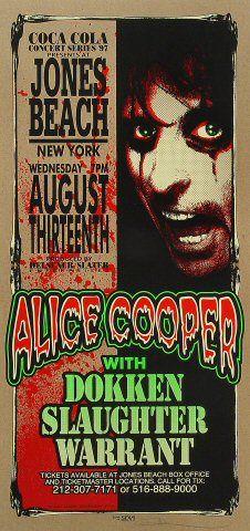 "Alice Cooper Poster from Jones Beach on 13 Aug 97: 10 1/2"" x 22 1/4"""