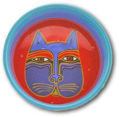 Laurel Burch cat bowl Laurel Burch, Cat Attack, Colorful Artwork, Z Arts, Here Kitty Kitty, Ceramic Plates, Beautiful Artwork, American Artists, I Love Cats