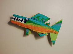 3d Funky Fish Art Recycled Painted Wood Small Hanging by FISHeFISH