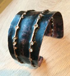hammered and drilled copper cuff bracelet with by ezraandindia