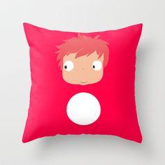 Ponyo likes you! Throw Pillow by Nekotaro