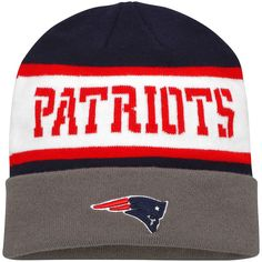 New England Patriots Pro Line Kearny Cuffed Knit Hat - Navy/Gray - $14.24