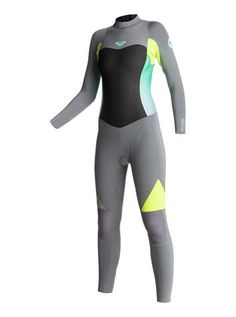 c633f0331c4f Roxy Women Wetsuit Syncro GBS 4/3 Back Zip Fullsuit - Grey/Lemon Suit