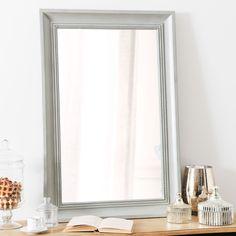 Spiegel aus Holz, grau, H 90cm, HONORÉ