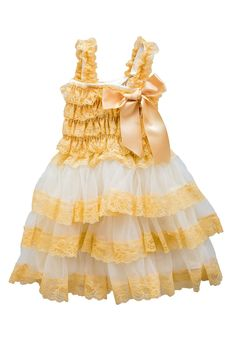 Vintage Country Layered Two-Toned Lace Dress - Gold