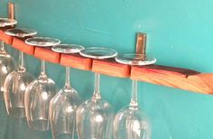 Reclaimed Wood Wine Glass Rack:  created from wine barrel stave.