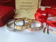 Cartier Love Bracelets: Yellow Gold, White Gold, Pink Gold 4 Diamonds and no Diamonds for sale at discount price. Love Bracelets, Cartier Love Bracelet, Bangles, Pink And Gold, White Gold, Rose Gold, 4 Diamonds, Diamond Sizes, 18k Gold