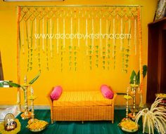Traditional and colorful background decor adding simple natural element to decor make it the perfect picture by DecorbyKrishna Desi Wedding Decor, Indian Wedding Decorations, Backdrop Decorations, Indian Weddings, Wedding Reception Decorations, Background Decoration, Wedding Mandap, Wedding Lanterns, Diwali Decorations