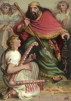 David playing on the harp before Saul (chromolitho)