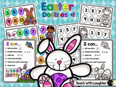 FREE  Easter Doubles Plus One math station.