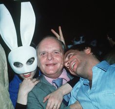 Liza Minelli (masked), Truman Capote, Steve Rubell (founder and co-owner of the New York Disco Studio 54)