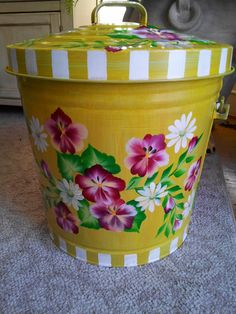 10 Gallon Hand Painted Galvanized Can by krystasinthepointe, $69.00