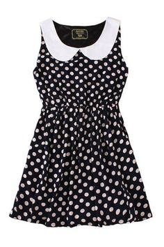 This cute ladies dress crafted in chiffon, featuring a Peter Pan collar with contrast color polka dot print, elasticated waistline with mini skirt design, which add lure to your style.