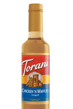 Torani Chicken 'n Waffles syrup captures the essence of crispy fried chicken and buttermilk waffles, topped with a sweet maple finish.