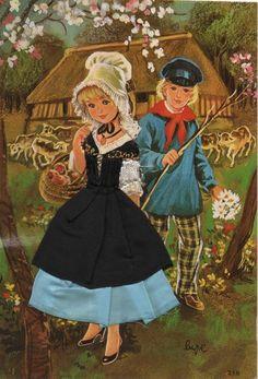Carte brodée-Folklore