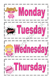 Super Hero Days of the week cards
