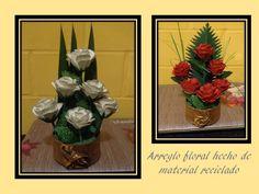 Arreglo Floral Material Reciclado