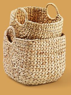 Hide away clutter in these hardy specimens, handwoven from sustainable water hyacinth. From @worldmarket