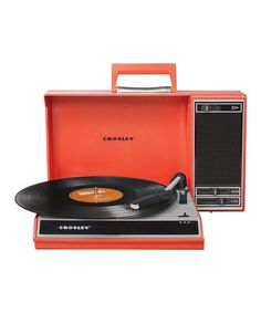Red Spinnerette Portable Turntable by Crosley