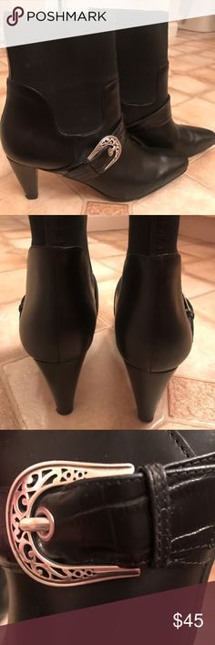 Brighton leather and stretch boots Like new.... worn one time and found them to be too small and thought they would stretch to my usual size 7.5. Beautiful black leather with enough stretch for comfort. Can be dressed up or down. Brighton Shoes Ankle Boots & Booties
