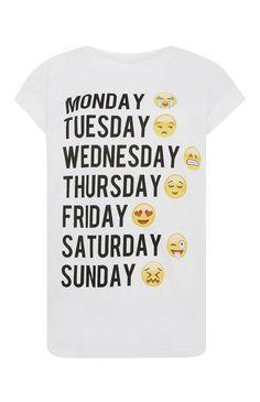 Primark - T-shirt met Emoji Weekday-print Primark, Cool Shirts, Funny Shirts, Tee Shirts, Camisa Emoji, Funny Emoji Texts, Emoji Shirt, Cute Emoji, Fashion Prints