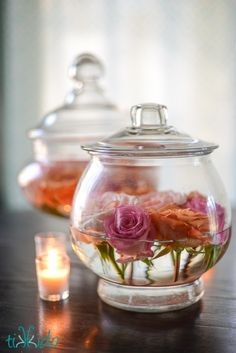 DIY Easy Apothecary Jar and Rose Floral Arrangements | TikkiDo.com - roses and rosefood in water in apothecary jars