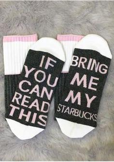 Womens Cotton Socks If You Can Read This Bring Me My Starbucks Birthday Gift Hot Starbucks Birthday, My Starbucks, Starbucks Drinks, Starbucks Clothes, Warm Socks, Funny Socks, Short Socks, Cotton Socks, Knitting Socks
