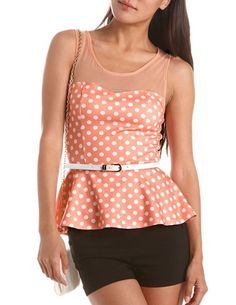 Belted Polka Dot Peplum Top: Charlotte Russe. this is so cute!