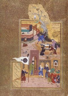 Bihzad A holy personage at the gate of a shrine consoles a son over his father-s death
