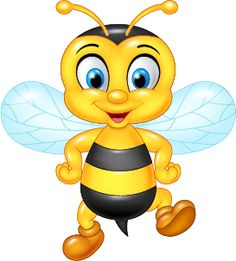 Cartoon funny bee posing isolated vector image on VectorStock