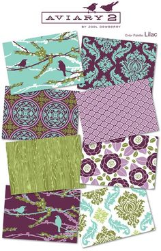 One of my favorite fabric lines (inspired my logo and colors) - Aviary 2 by Joel Dewberry