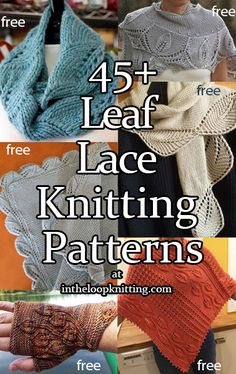 Leaf Lace Knitting Patterns - In the Loop Knitting Leaf Knitting Pattern, Knitted Flower Pattern, Cable Knitting Patterns, Knitted Flowers, Knitting Stitches, Knit Patterns, Stitch Patterns, Creative Knitting, Easy Knitting