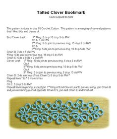 Tatting Patterns :: TattedCloverBookmark.jpg picture by carolivy64-tatting - Photobucket