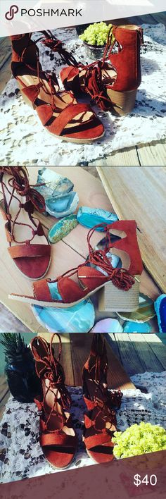 Gorgeous Rustic Whiskey lace up Sandals Brand new Never been worn Comes in original box No trades Many more sizes available Shoes Sandals