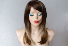 Anniversary Special  Brown /Dirty Blonde Ombre colored by kekeshop, $57.50 ONLY ONE LEFT  Anniversary Special :)) Brown /Dirty Blonde Ombre colored wig. Long straight hair with bangs wig. Top quality synthetic wig., listing #105995489