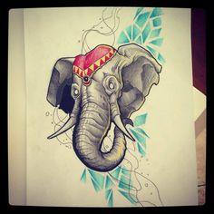 Elephant tattoo design by kirtatas.deviantart.com on @DeviantArt