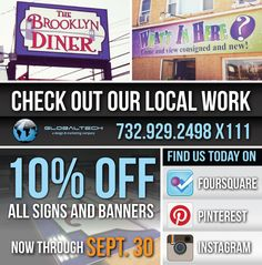 10% off all signs & banners through Sept 30, 2012. #globaltechnj #globaltech #signs #banners