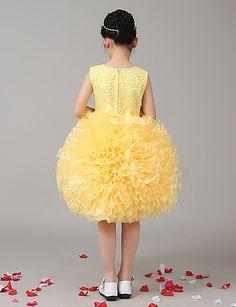 A-line Knee-length Flower Girl Dress - Organza / Stretch Satin Sleeveless Jewel with 4955035 2016 – $59.99