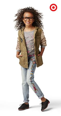 The Annie for Target Girls' Military Glitter Jacket in khaki is made for stylish adventures and magical journeys. For limited time, the Annie for Target collection is available in-store and online.