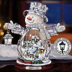 Thomas Kinkade snowman snowglobe