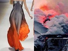 Вдохновение.  #nature #inspires #fashion #inspiration #color #designer #gown #India #Indian #volcano #fire #smoke #ashes #dust #design