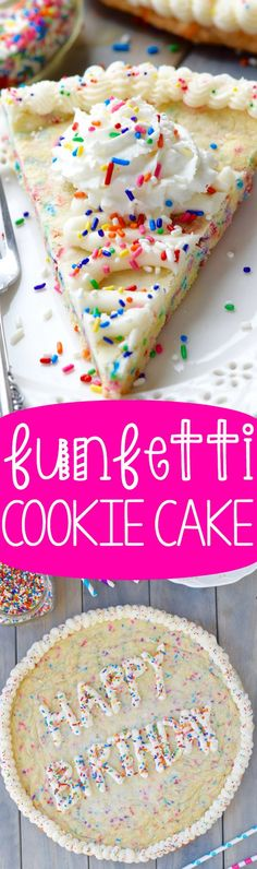 This Funfetti Cookie Cake is the perfect mixture of cake and cookie taste. Super easy to make, it's perfect for your next birthday party!