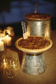 pecan pies - love the stands made from upturned galvanized pails! | Katherine Miles Jones #wedding