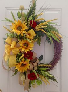Large Sunflower wreath! Summer wreath or Fall wreath! Large sunflowers, daisies, and burlap ribbons enhance this wreath. by JansElegantWreaths on Etsy