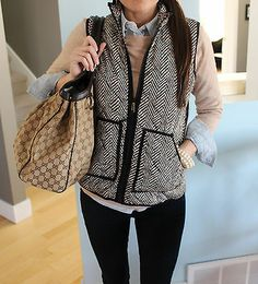 Factory Excursion Puffy Printed Vest in Herringbone Print by Fresh L Large | eBay