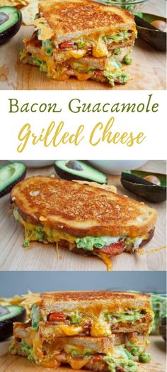 Bacon Guacamole Grilled Cheese Sandwich A guacamole flame broiled cheddar sandwich has been on my to attempt list for some time now and since I was making the bacon guacamole on the end of… Deli Sandwiches, Vegetarian Grilling, Vegetarian Recipes, Cooking Recipes, Grilled Cheese Avocado, Grilled Cheese Recipes Easy, Bacon Sandwich Recipes, Grilled Vegetable Sandwich, Bacon Recipes For Dinner