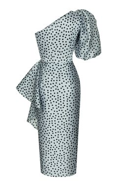 Rasario Ruffled Polka-Dot Silk Organza One-Shoulder Midi Dress Going Out Dresses, Dresses For Work, Festival Dress, Silk Organza, Ruffle Skirt, Pattern Making, Party Dress, One Shoulder, Polka Dots