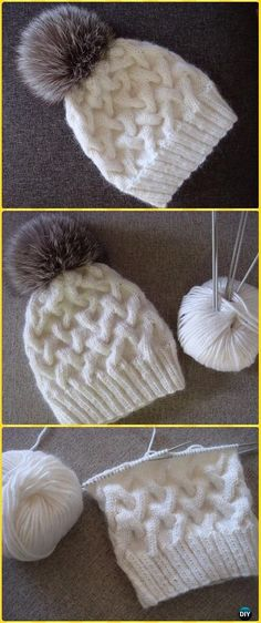 Beanie Crochet Knit Winter Cable Hat Free Pattern - Knit Beanie Hat Free Patterns - Knit Cable Beanie Hat Free Patterns: Knit Winter Hat, Knit Horse Shoe stitch hat, knit thick hat, chunky knit hat for kids, girls and adults Knitting Terms, Free Knitting, Knitting Projects, Knitting Needles, Knitting Ideas, Free Baby Knitting Patterns, Baby Hats Knitting, Knit Beanie Pattern, Knit Beanie Hat