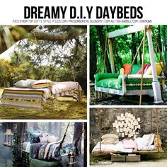 this site has a whole bunch of neat DIY things, all bunched into convenient categories (daybeds, shelves, notepads, hanging clothes rack etc. Hanging Beds, Diy Hanging, Hanging Chairs, Outdoor Spaces, Outdoor Living, Outdoor Decor, Outdoor Ideas, Outdoor Kitchens, Outdoor Stuff