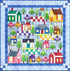 All Around the Neighborhood BOM sampler quilt - also see http://delphinesquiltshop.blogspot.com/2012/12/the-neighborhood-quilt-is-ready-for.html